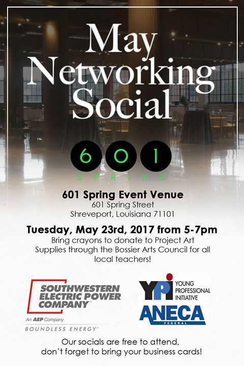 Heliopolis events calendar ypi may networking social networking social at 601 spring event venue from 5 pm to 7 pm tuesday may 23 bring crayons to donate to project art supplies through the bossier reheart Images